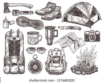 Vector hand drawn set of touristic accessories and equipment for outdoor adventure and camping. Sketch illustrations: knife, compass, axe, tent, bonfire, boots, backpack, cups, map, camera, sunglasses