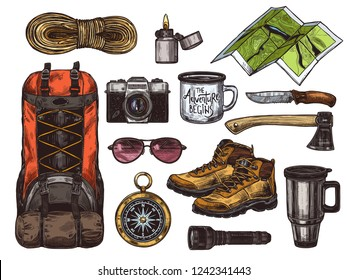 Vector hand drawn set of touristic accessories and equipment for outdoor adventure and camping. Colorful sketch collection of illustrations knife, compass, axe, boots, backpack, cups, map, camera
