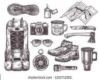 Vector hand drawn set of touristic accessories and equipment for outdoor adventure and camping. Sketch collection of illustrations knife, compass, axe, boots, backpack, cups, map, camera, sunglasses