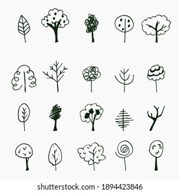 Vector hand drawn set of trees icons. Nature doodle collection.