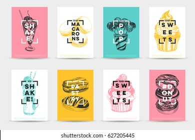 Vector hand drawn set of trendy sweets Illustrations. Sketch vintage style. Design template. Retro background. Donuts, Eclairs, macarons and milkshakes.