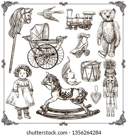 Vector hand drawn set of vintage toys. Collection of children toys, doll, baby carriage, train,nutcracker, drum, teddy bear, wooden horse, stick horse, christmas toys.