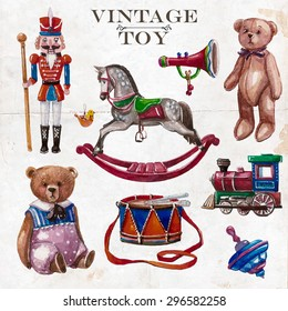 Vector hand drawn set of vintage toys on old paper. Create by watercolor