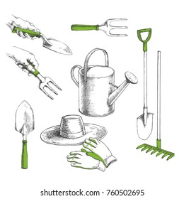 Vector hand drawn set with watering can, shovel, trowel, fork, rake, hat and gloves isolated on white. Garden tools and clothes in sketch style