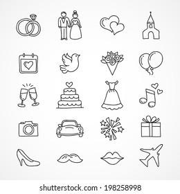 Vector hand drawn set of wedding icons, bride, groom, couple, love, marriage