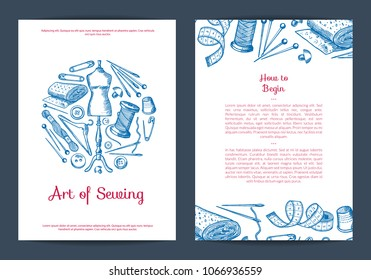 Vector hand drawn sewing elements card, flyer or brochure template for atelier or sewing classes illustration