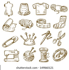 vector hand drawn sewing icons set on white