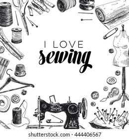 Vector hand drawn sewing Illustration. Vintage style. Retro sketch background.