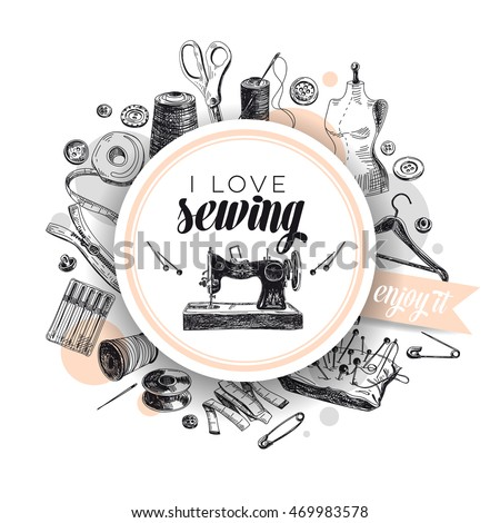 Vector Hand Drawn Sewing Illustration Vintage Stock-Vektorgrafik ...
