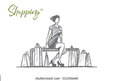 Vector hand drawn Shopping time concept sketch. Stylish woman in dress sitting on banch with shopping bags. Lettering Shopping time