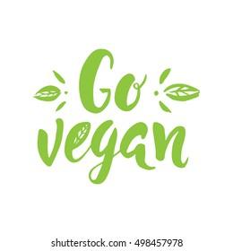 Vector hand drawn sign.Calligraphy Go Vegan. Motivational phrase.
