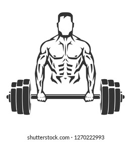 Vector hand drawn silhouette of bodybuilder with dumbbell isolated on white background. Template for sport icon, symbol, logo or other branding. Modern retro illustration.