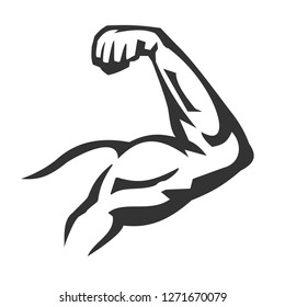 Vector hand drawn silhouette of muscle arms isolated on white background. Template for sport icon, symbol, logo or other branding. Modern retro illustration.
