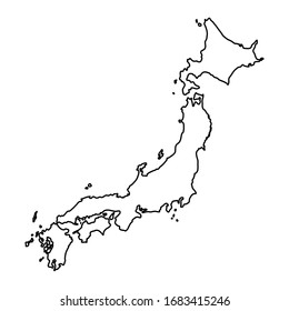 Vector hand drawn simple style illustration line contour drawing of the map of Japan isolated on white background