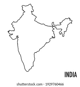 Vector hand drawn simple style illustration line contour drawing of the map of India isolated on white background