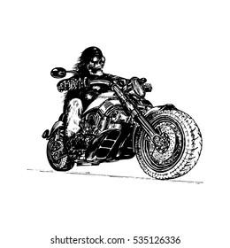 T shirt Avec Biker Motif Modèle skull EXHAUST