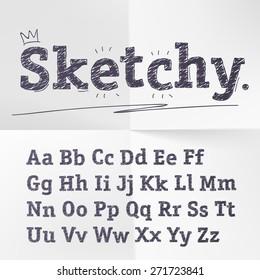 Vector hand drawn sketch alphabet.