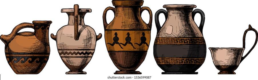Vector hand drawn sketch of ancient greek vases set in ink hand drawn style.  Types of vases: Askos (pottery vessel), hydria, amphora, pelike, kyathos. Typology of Greek vase shapes.