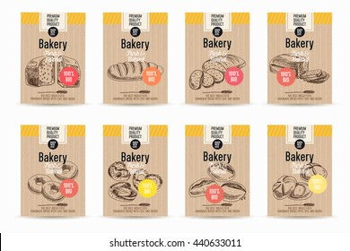 Vector hand drawn sketch bread posters set. Eco foods.Sketch illustration.