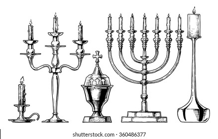 Vector hand drawn sketch of candlesticks set in ink hand drawn style.