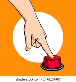 Vector hand drawn sketch cartoon illustration of human hand and finger, press red button, vector illustration isolated on orange background