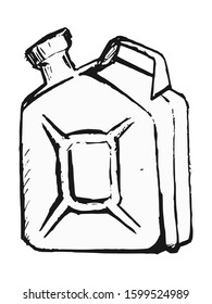Vector, hand drawn, sketch, cartoon illustration of canister with gasoline. Motives of auto travel, car parts, automotive, energy saving, traditional vintage objects, technology