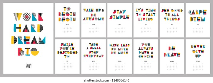 Vector hand drawn sketch colorful text calendar 2019. Week starts from Sunday.