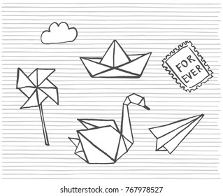 Vector hand drawn sketch cute cartoon hand draw origami stickers on a striped background.