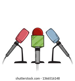 Vector hand drawn sketch illustration of three Microphones of press, vector illustration isolated on white background