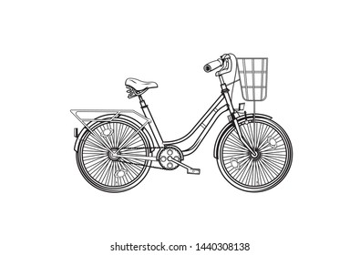 Vector hand drawn sketch illustration of vintage bicycle isolated on white background