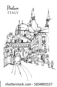 Vector hand drawn sketch illustration of the Basilica of St. Anthony of Padua in Veneto, Italy