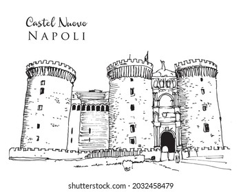 Vector hand drawn sketch illustration of Castel Nuovo in naples, Italy