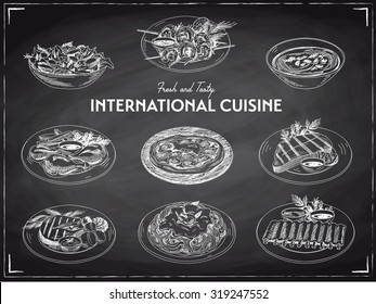 Vector hand drawn sketch international cuisine set. Restaurant food. Retro illustration. Chalkboard.