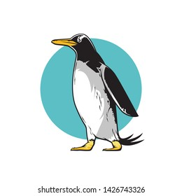 Vector hand drawn sketch of pinguine, emblem of wild animals, vector illustration isolated on white background with blue circle