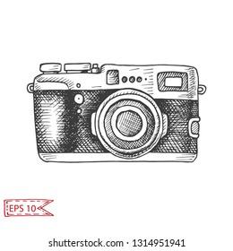 Vector hand drawn sketch Professional SLR camera, photocamera.