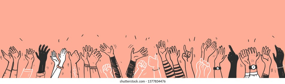 Vector hand drawn sketch style illustration with black colored human hands different skin colors greeting & waving isolated on light background. Crowd, party, sale concept. For advertising, packaging.