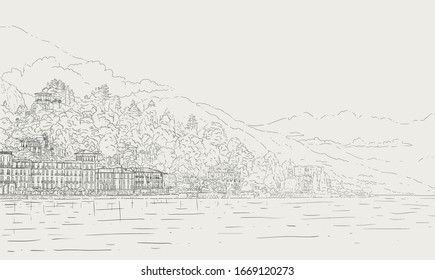 Vector hand drawn sketch style outline illustration of italian Como lake landscape. Romantic background for invitations, banners and cards.