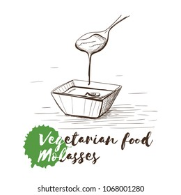 Vector hand drawn sketch of vegetarian food with food name. Eco food. Monochrome Molasses isolated on white sketch.