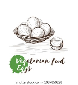 Vector hand drawn sketch of vegetarian food with food name. Eco food. Monochrome Eggs isolated on white sketch.