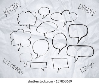 Vector hand drawn sketchy doodle speech bubbles