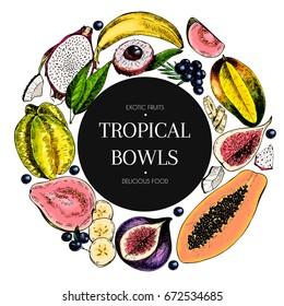 Vector hand drawn smoothie bowls poster. engraved fruits. Colored icons in round border. Banana, mango, papaya, pitaya, fig, carambola, pitahaya, lychee, coconut acai exotic restaurant food party