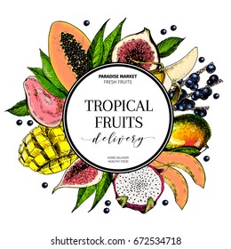 Vector hand drawn smoothie bowls poster. Exotic engraved fruits. Colored icons in round border composition. Banana, mango, papaya, pitaya, fig, acai, guava, pitahaya. for exotic restaurant food party