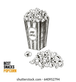 Vector hand drawn snack and junk food Illustration. Pop corn. Vintage style sketch background.