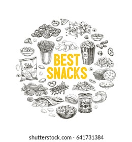 Vector hand drawn snack and junk food Illustration. Vintage style sketch background.
