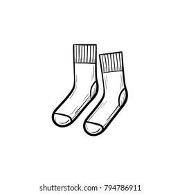 Vector hand drawn socks outline doodle icon. Socks sketch illustration for print, web, mobile and infographics isolated on white background.