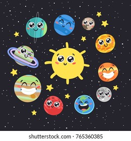 Vector Hand drawn Solar System: Sun, Moon, Pluto and Planets on space background. Funny Cartoon Illustration Cosmos