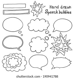 Vector hand drawn speech bubbles set. Design elements.