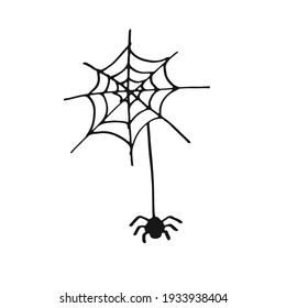 Vector hand drawn spider web with spider isolated on white