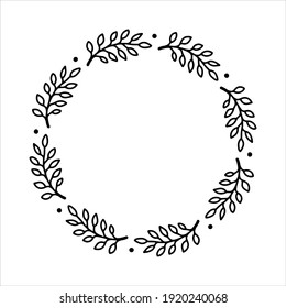 Vector hand drawn spring wreath isolated on white background. Outline circle of leaves. Doodle style. Floral frame.