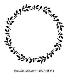 Vector hand drawn spring wreath isolated on white background. Silhouette circle of leaves. Doodle style. Floral frame.